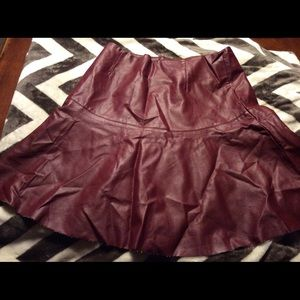 Very J Faux Leather Skater Skirt Size M Maroon